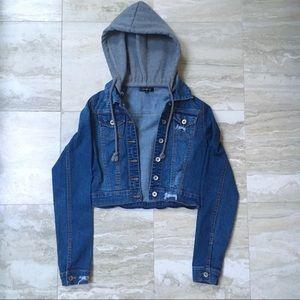 Hooded Cropped Denim Jacket